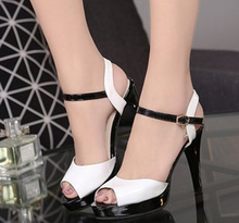 Free shipping summer new fish head high heels sexy fine with waterproof Roman sandals minimalist shoes