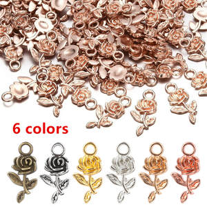 Jewelry-Making Earrings Necklace Craft-Accessories Beads Pendant Charm Rose-Flower Silver
