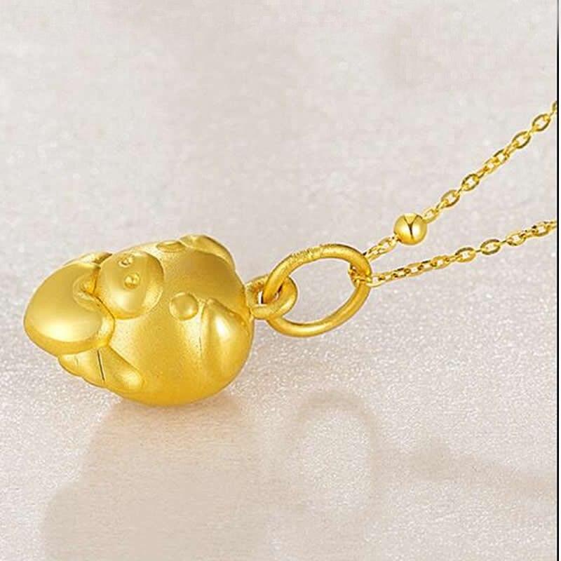 Новое поступление 24 K подвеска из желтого золота Китайский Зодиак милый сердце цепочка со Свинкой кулон - 4
