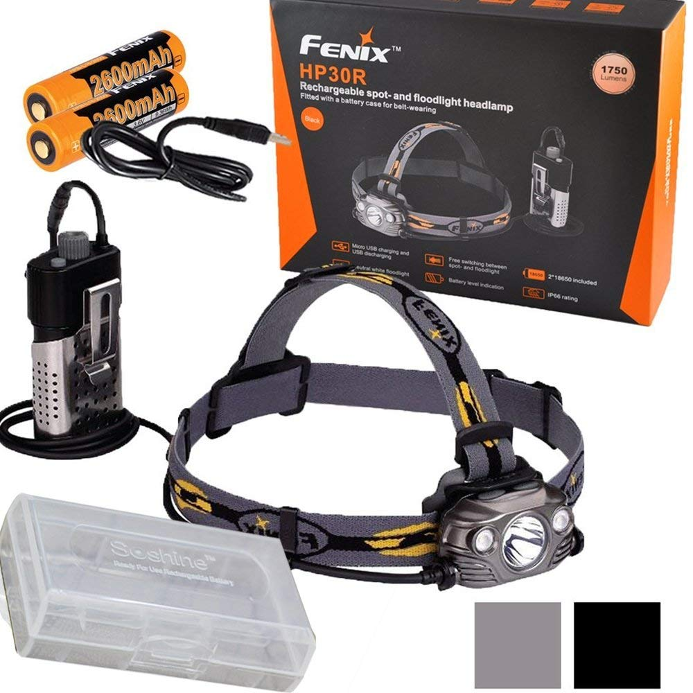 Fenix HP30R 1750 Lumen Spot and Flood Light CREE LED USB Rechargeable Headlamp with 2 X Fenix 18650 batteries and k1 charger fenix hp25r 1000 lumen headlamp rechargeable led flashlight
