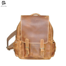 new Fashion brown color genuine leather men s backpacks cowhide leather backpack vintage preppy style male