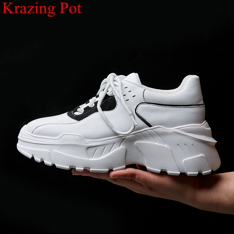 Krazing Pot superstar cow leather platform lace up white sneaker round toe increasing vacation casual women vulcanized shoes L11Krazing Pot superstar cow leather platform lace up white sneaker round toe increasing vacation casual women vulcanized shoes L11