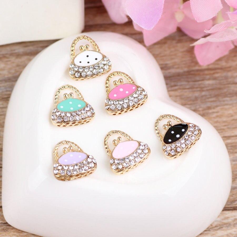 Free Shipping Mini Order 10PCS Rhinstones Paved Fashion Enamel Women Handbag Shape DIY Jewelry Pendant Charms Oil Drop Charm
