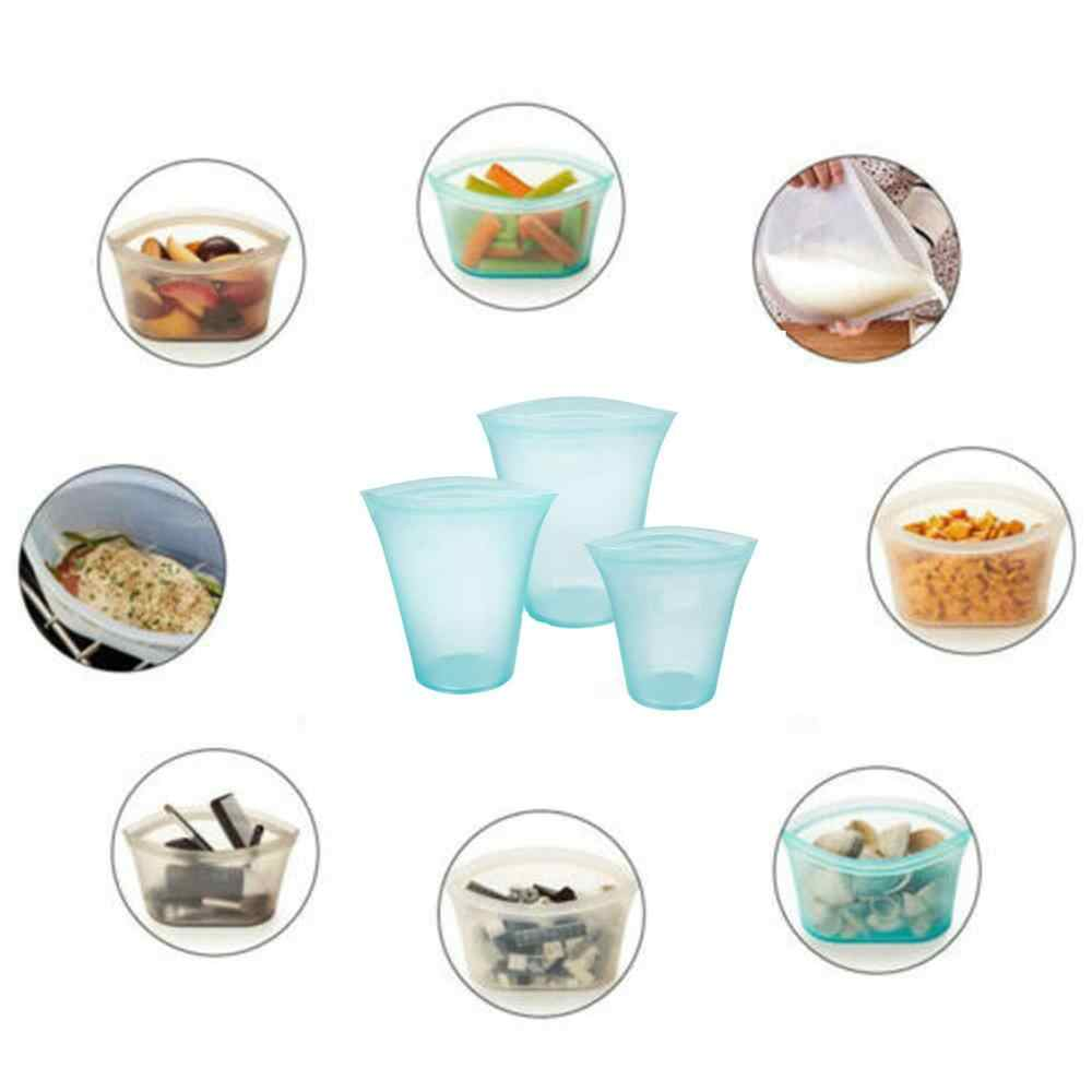 Reusable Silicone Food Preservation Bag Airtight Seal Set Zip Leakproof Storage Container Versatile Kitchen Cooking Utensil 5pz