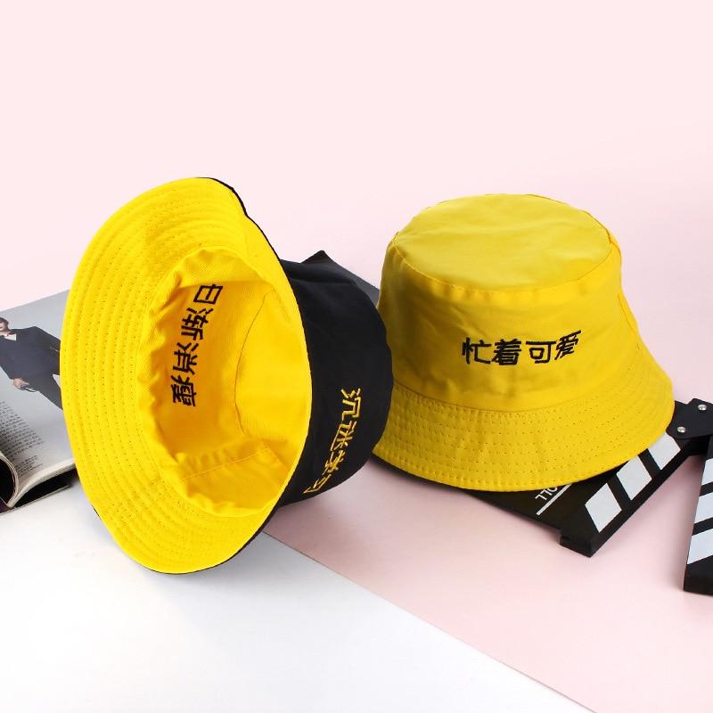 652917b7901 Yellow Black Double sided Wear Bucket Hat Women Fishing Hat Men ...