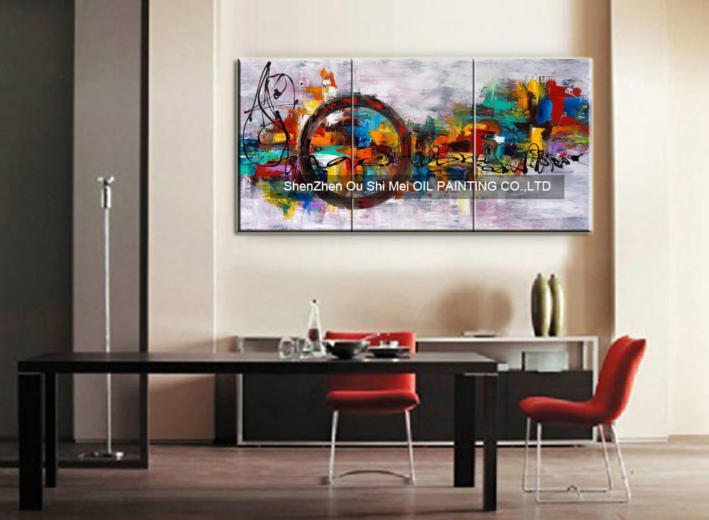 Circle of magic canvas art wall decor abstract oil painting contemporary knife painting for home decor 3 panels wall decor in painting calligraphy from