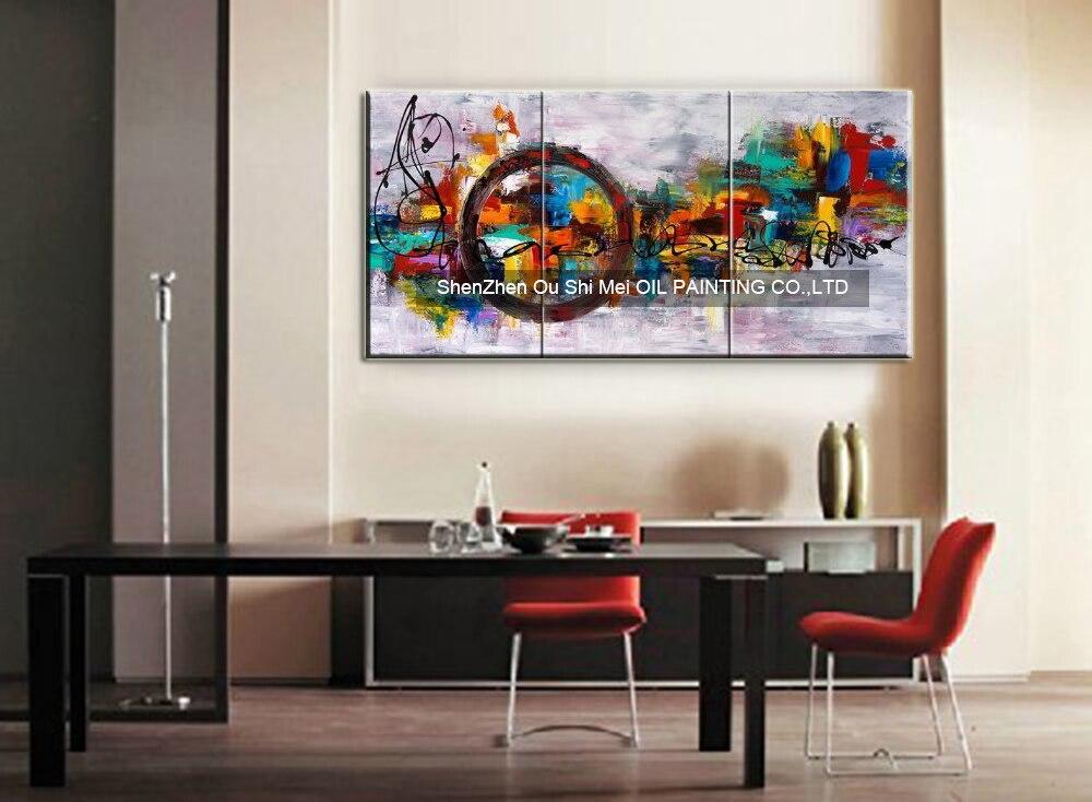 Cirkel Van Magic Doek Wall Decor Abstract Olieverf Hedendaagse Mes Schilderen voor Home Decor 3 panelen Muur Decor