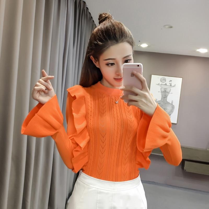 2018 Autumn Women   Shirts   Flare Knitting Full Sleeve Head Base Sweater   Blouse     Shirt   Orange Red Blue Black A024