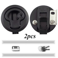 2 PCS 2 Plastic Black Locking lift handle Flush Boat Latch Marine Boat Round Deck Lock with key for Boat Yacht RV Accessories
