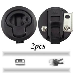 Image 1 - 2 PCS 2 Plastic Black Locking lift handle Flush Boat Latch Marine Boat Round Deck Lock with key for Boat Yacht RV Accessories