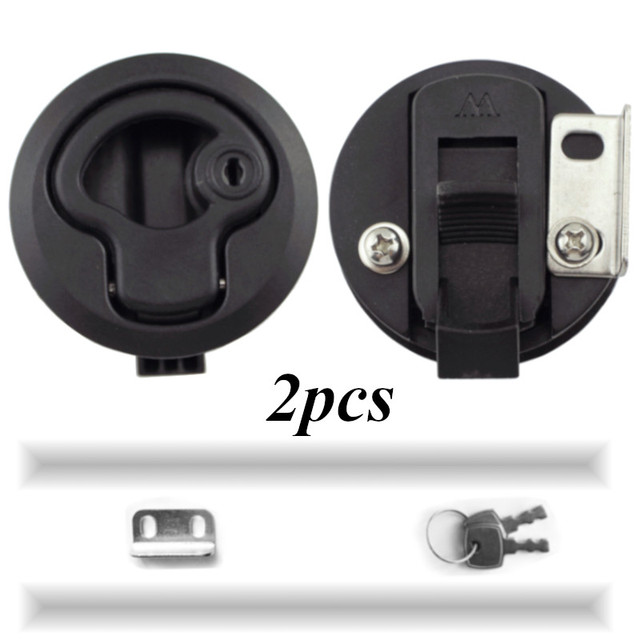 2 PCS 2 Plastic Black Locking lift handle Flush Boat Latch Marine Boat Round Deck Lock with key for Boat Yacht RV Accessories