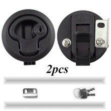 2 Stuks 2 Plastic Black Locking Lift Handvat Flush Boot Klink Marine Boot Ronde Dek Slot Met Sleutel Voor boot Jacht Rv Accessoires