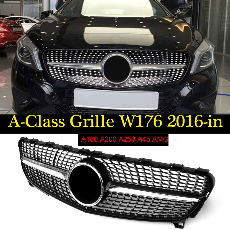 For MercedesMB W176 Diamond Front Grille ABS Gloss Black A Class A180 A250 A200 A45 Sports Without sign Front Grill Grills 2016+ image