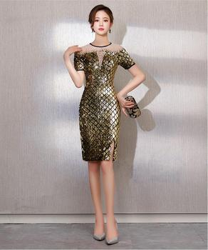 Fashion Sexy Shining Golden Female Sense Long Fishtail Skirt 2019 New Stage wear Costume Birthday party