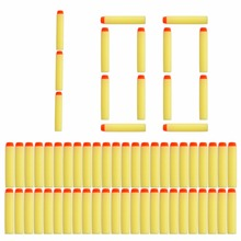 100pcsFor Nerf Bullets Soft Hollow Hole Head yellow 7 2cm Refill Darts Toy Gun Bullets for
