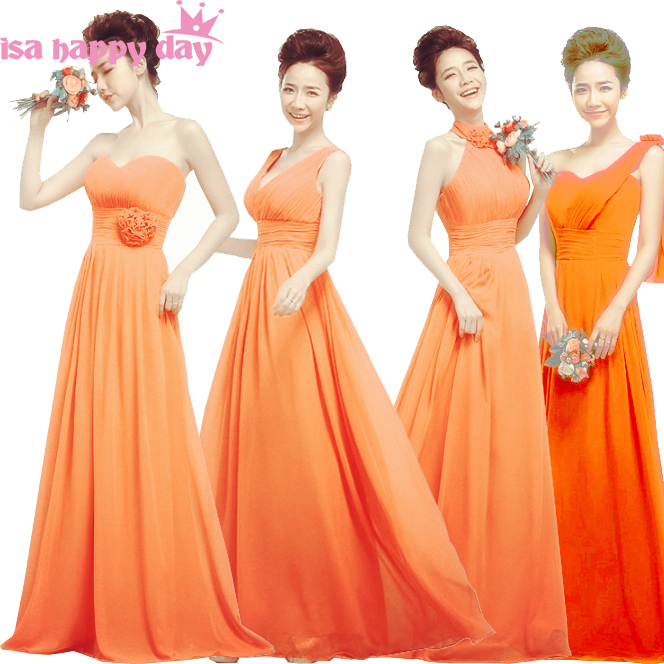 Orange Gowns Wedding: Long Orange Color Summer Lace Up Bridesmaid Dress Party