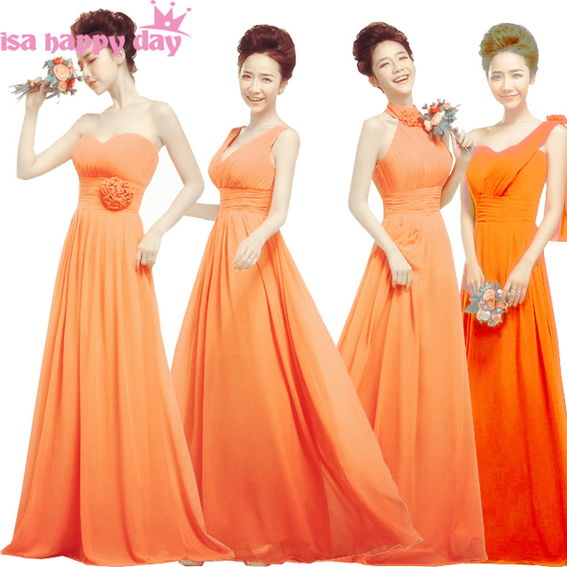 long orange color summer lace up bridesmaid dress party elegant gowns brides  maid dresses chiffon gown for wedding guests 2bcee582c