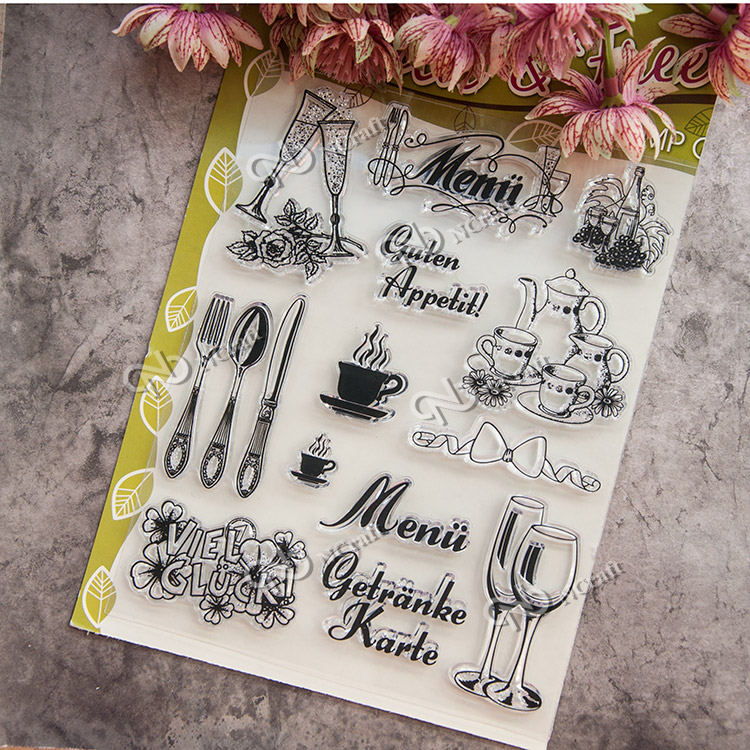 Dinner party tableware Scrapbook DIY photo cards account rubber stamp clear stamp seal kid transparent silicone gift stamps scrapbook diy photo album card hand account rubber seal product seal transparent seal stamp cat