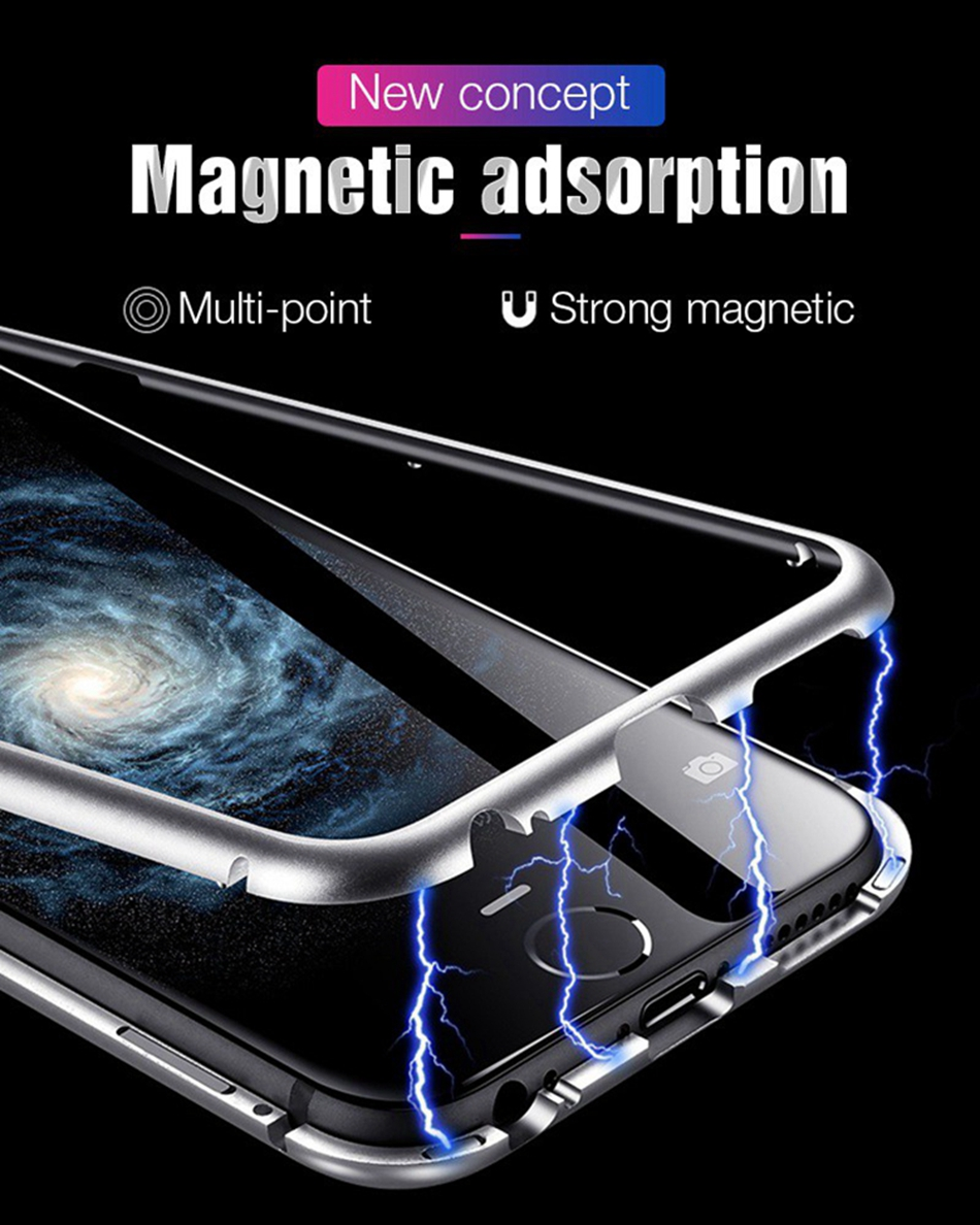 separation shoes 9a6e0 48bfb Magnetic Adsorption Phone Case For iPhone X 10 7 Metal Magnet Tempered  Glass Cases Flip Cover(Buy 2 get 15% Off)