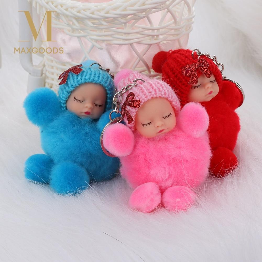 1 Stücke Nette Schlafen Baby Bowtie Flauschigen Bommel Pelz Plüsch Puppe Schlüsselbund Schlüsselbund Schlüssel Ring Frauen Mädchen Tasche Anhänger Schmuck Weich Und Rutschhemmend