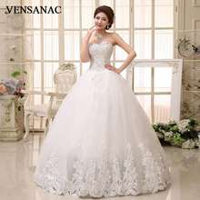 VENSANAC 2018 Crystal Strapless Lace Appliques Ball Gown Wedding Dresses Sequined Off The Shoulder Backless Bridal Gowns цена и фото