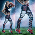 fashion building leggings new 93 Baseball pants 3D print middle waist trainer pants skull waist leggings