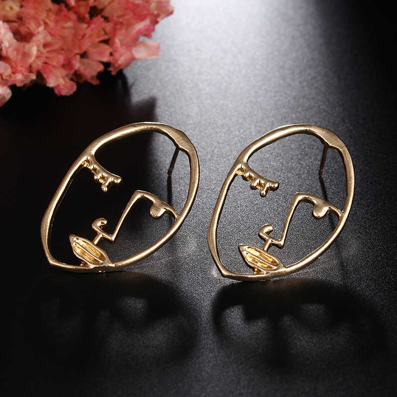Simple Punk Style Abstract Art Earrings Face shape Sculpture Drop Earrings Personalized Statement Earring Fashion Jewelry E0431