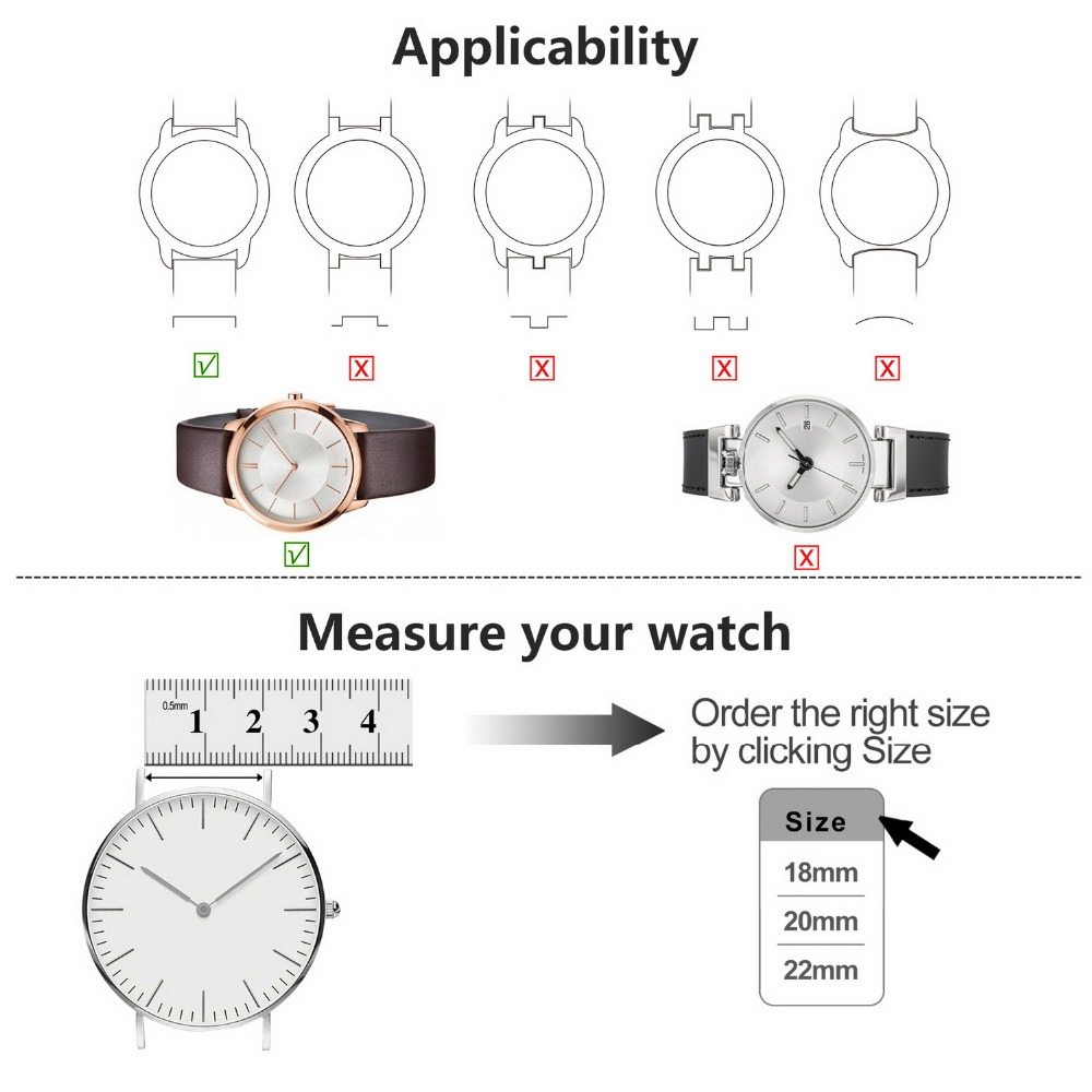 Image 5 - Fullmosa Sliim Leather Watch Band, Classic Narrow Leather Watch Strap with Quick Release for Men Women 18/20/22mm 5 Colors-in Watchbands from Watches