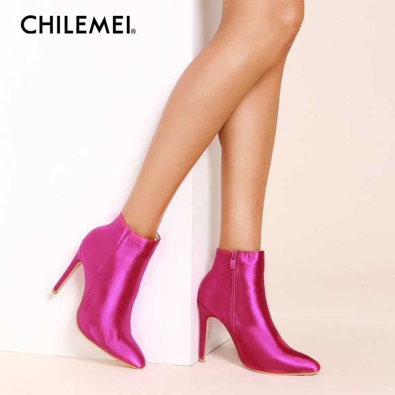 CHILEMEI Rose Red Women Sock Boots Pointed Toe High Heels Sexy Thin Heels Ankle Boots Women Pumps Simple Zipper Stiletto Botas summer bling thin heels pumps pointed toe fashion sexy high heels boots 2016 new big size 41 42 43 pumps 20161217
