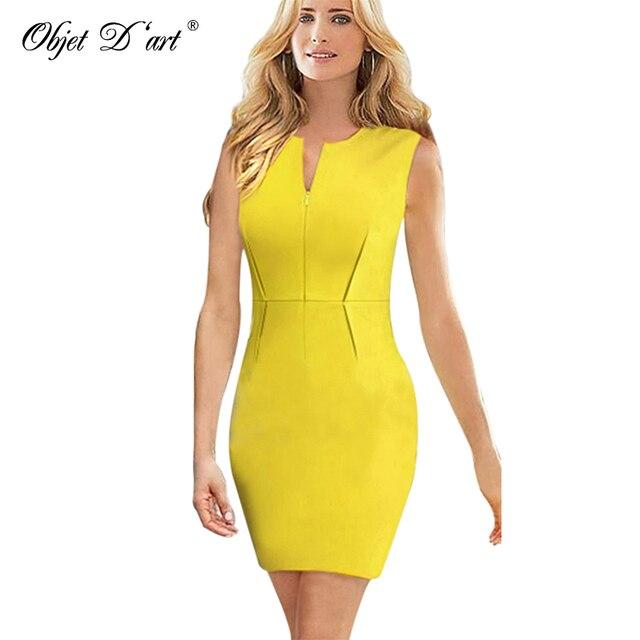 fe507390ee Free Shipping Elegant Office Women Dress Summer V-neck Pencil Dress Solid  Yellow Slim Sexy Bodycon Business Dresses Vestidos
