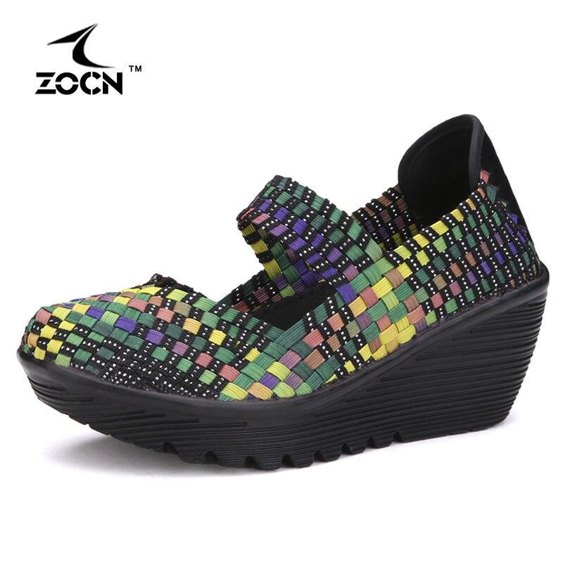 ZOCN  Nuevo Verano Zapatos de Plataforma Cuñas de Las Mujeres Tejen Los Zapatos