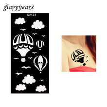 1 Piece Henna Tattoo Stencil Hollow Hot Balloon Cloud Gull Bird Airbrush Painting Female Arm Body Art Tattoo Stencil Beach S2123