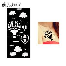 1 шт хна трафарет для татуировки полый горячий воздушный шар облако Чайка птица Аэрограф живопись женская рука боди-арт трафарет для татуировки пляж S2123