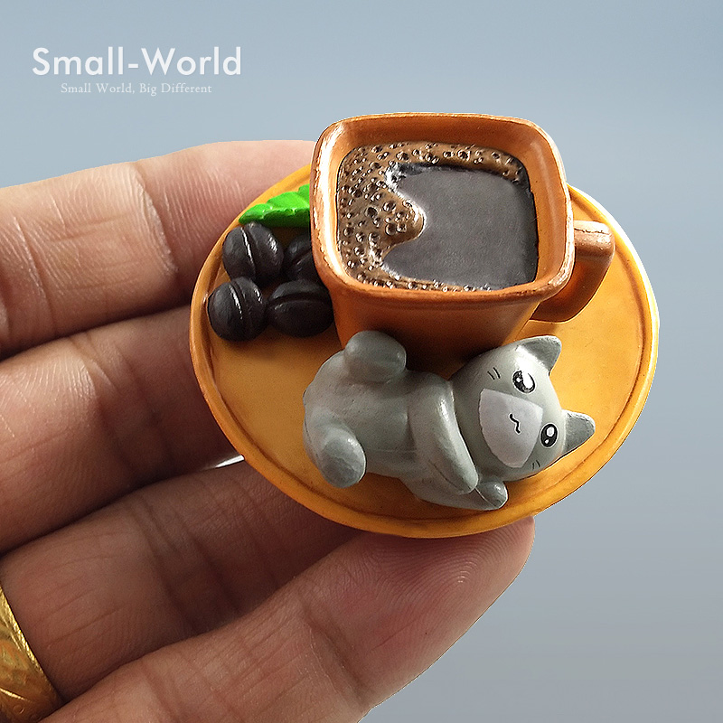 2017 Fashion Kawaii Cartoon Coco Koffie Kat speelgoed Micro Landschap Beeldjes Fairy Tuin Decoraties Miniaturen Ambachten Home Decor