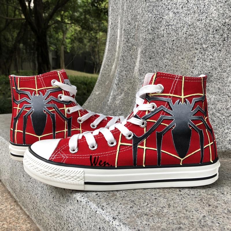 Wen kézzel festett vörös vászon cipő Design egyéni pókember férfi női magas top vászon cipők lányok fiúk ajándékok
