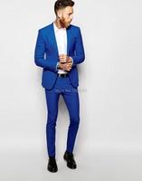 Jackets+Pants+Bow Tie+Handkerchief)2015 New Brand Wedding Party Men business Suits slim fit fashion blue men Suits