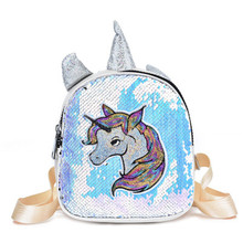 Fashion Cartoon Unicorn Printed School Backpack For Teenager Sequins Deisgn Female Travel Rucksack PU Children Girls A4