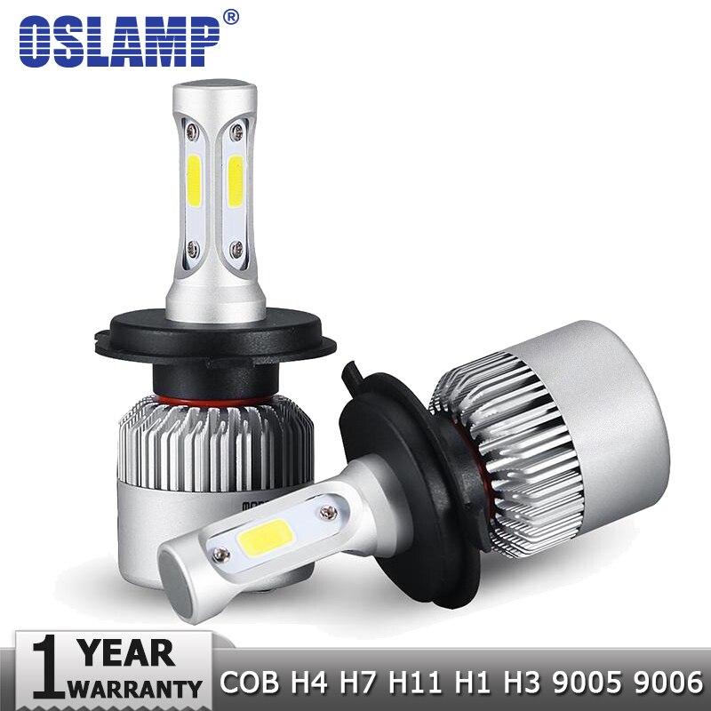 Oslamp H4 H7 H11 H1 H3 9005 9006 COB Voiture LED Phare Ampoules Salut-Lo Faisceau 72 w 8000LM 6500 k Auto Projecteur Led Voiture Lumières DC12v 24 v