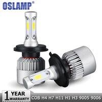Oslamp H4 H7 H11 H1 H3 9005 9006 COB רכב LED פנס נורות Hi-Lo Beam 72 W 8000LM 6500 K אוטומטי פנס ערפל הנורה DC12v 24 v