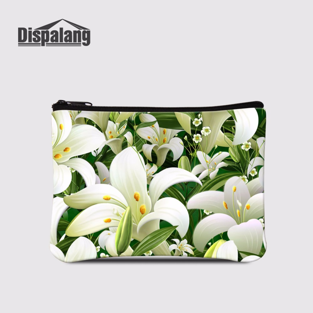 Dispalang Lilies Printing Cute Small Coin Purse For Children Women Small Change Purse Coin Bag Kids Pocket Wallets Makeup Case Limpid In Sight Luggage & Bags