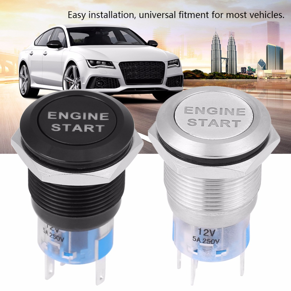Silver 12V DC LED Car Engine Start Stop Push Button Switch Ignition Starter Switch Universal Metal Press LED Push Button Switch White