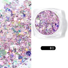 лучшая цена 1 Box Chunky Glitter Nail Sequins Iridescent Flakes Ultra-thin Tips Colorful Mixed Paillette Festival Glitter For Face Hair 1g