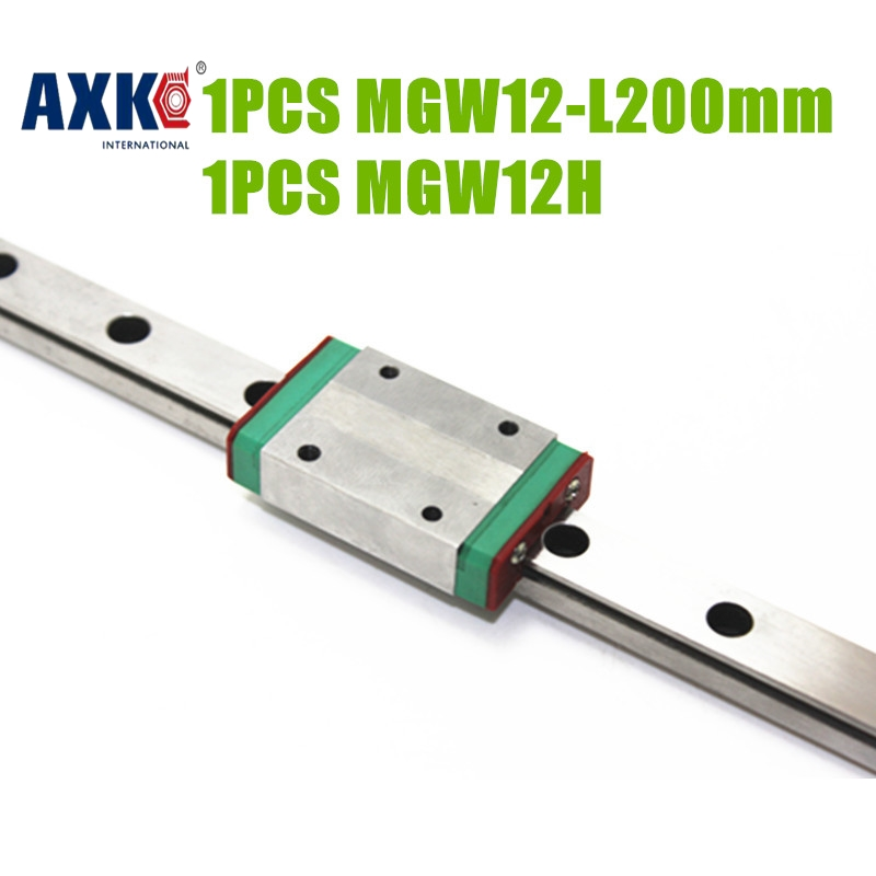 2018 Bearing Rodamientos Rolamentos Axk Free Shipping Cnc Parts Linear Rail Guide 12mm Mgw12r- L200mm + Mgw12h For 3d Printer free shipping 100 1500mm linear guide rail slide module ball screw and motor for 3d printer parts kit and cnc engraver machine