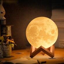 Dropship 3D Print Moon Lamp 20cm 18cm 15cm Colorful Change Touch USB Led Night Light