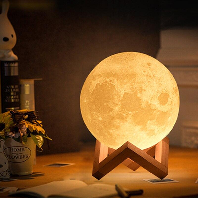 Dropship 3D Print Mond Lampe 20 cm 18 cm 15 cm Bunte Ändern Touch USB Led Nacht Licht Wohnkultur kreative Geschenk