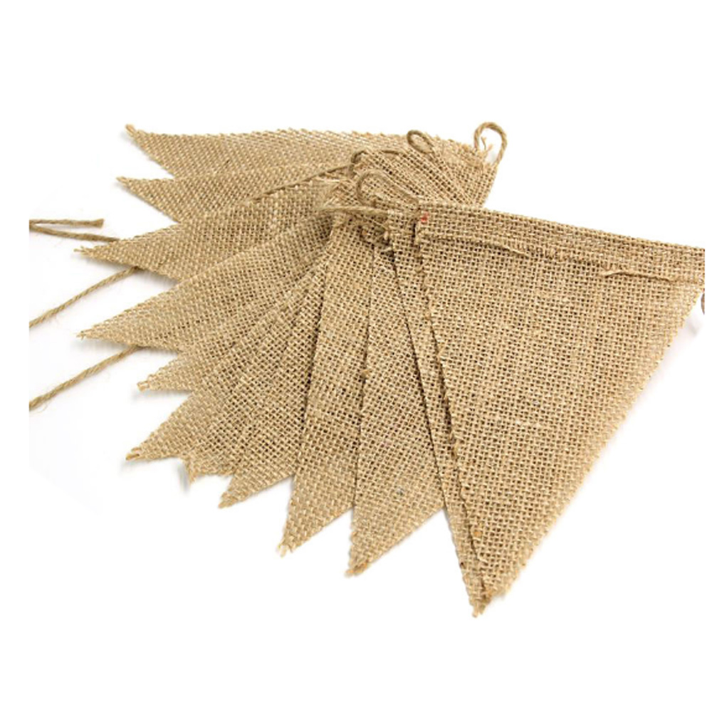 Diy 3m triangle vintage jute hessian burlap bunting banner for Diy jute