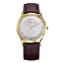 SOLLEN olon male watch leather watch quartz watch waterproof male business thin minimalist man watch