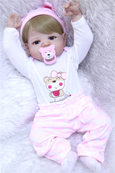 55cm full Silicone Reborn Baby Doll Kids Playmate Gift for Girls Baby Alive Soft Toys for Bouquets Doll Bebe Reborn Toys Photo