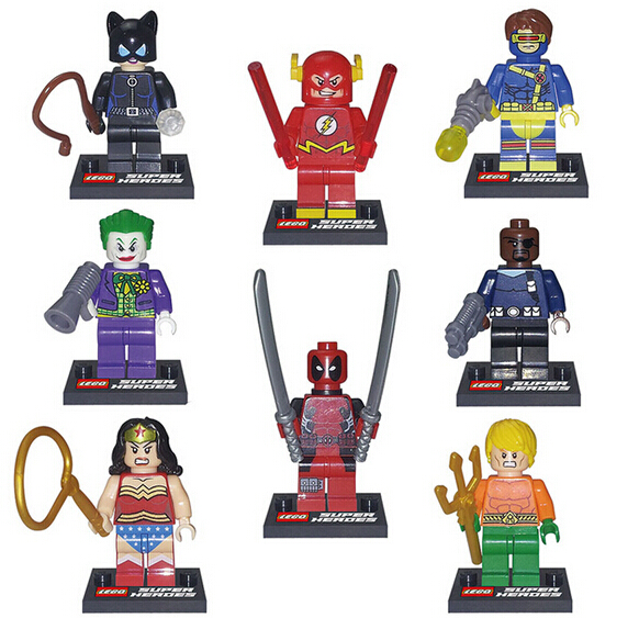 NEUE 8 teile/satz Justice league Wonder Joker cyclops Deadpool-Action-figuren Bausteine Bricks toys No box!