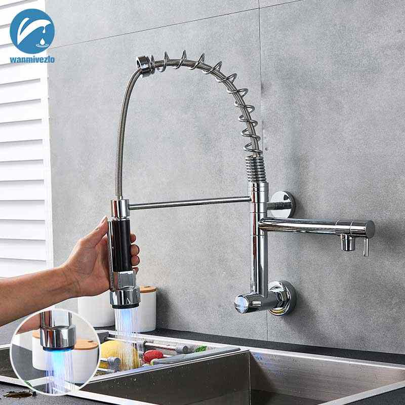 Wall Mounted Kitchen Faucet LED Spring Kitchen Tap Chrome Cold Water  Kitchen Sink Tap Spout Handhold Spout Tap For Kitchen